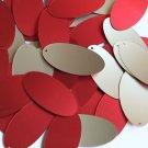 "Oval Sequin 1.5"" Red Gold Matte Silk Frost Matte Silk Frost"