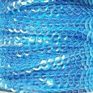 Sequin Trim Aqua Blue See Thru 8mm Cup Facet strung by the yard. Made in USA.