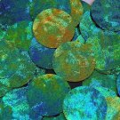 Round Sequin Starry Night Blue Green Swirl Texture 1.5 inch Couture Paillettes