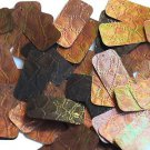 """Sequin Bronze Gold Iris Rectangle 1.5"""" Tooled Leather Effect Couture Paillette"""