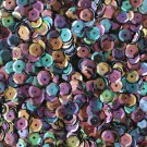 5mm Cup SEQUIN FACET PAILLETTES ~ Opaque BLACK RAINBOW IRIS ~ Made in USA