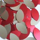 "Navette Leaf Sequin 1.5"" Red Gold Matte Silk Frost Matte Silk Frost"