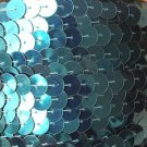 Deep Turquoise Metallic Sequin Trim 10mm flat strung by the yard. Made in USA.