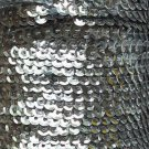 Silver Shiny Metallic 5mm cup Sequin Trim, Flat Stitched Strung by the yard 15'