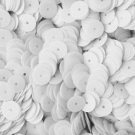8mm Flat SEQUIN PAILLETTES ~ Opaque WHITE Shiny ~ Round Disc ~ Made in USA.