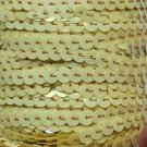 "Antique Yellow Iris Sequin Trim 6mm 1/4"" wide stitched strung by the yard 15'"
