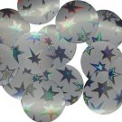30mm ROUND SEQUIN PAILLETTES ~ Silver Metallic STAR Spangles ~  Made in USA