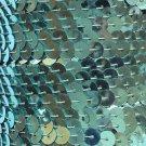 """Sea Foam Aqua Blue Sequin Trim 6mm 1/4"""" wide stitched, strung by the yard 15'"""