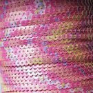 Sequin Stitched Trim 4mm ~ Opaque Pink Flower Garden Patterned ~ Made in USA
