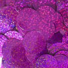 30mm ROUND SEQUIN PAILLETTES ~  Fuchsia Pink HOLOGRAM Metallic ~  Made in USA