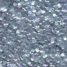 8mm Cup Sequins Facet Paillette ~ Pale Gray Crystal Iris Rainbow ~ Made in USA
