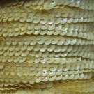Lemon Yellow Rainbow 5mm cup Sequin Trim Flat Stitched Strung by the yard 15'