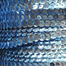 Sequin Trim ~ Light Blue Metallic 8mm Cup Facet strung by the yard. Made in USA.