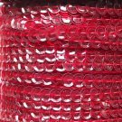 Sequin Trim Ruby Red See Thru 8mm Cup Facet strung by the yard. Made in USA.