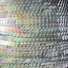 Sequin Stitched Trim 4mm ~ Silver Iris Rainbow Iridescent Metallic ~ Made in USA
