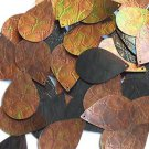 """Sequin Bronze Gold Iris Brown Drop 1.5"""" Tooled Leather Effect Couture Paillette"""