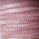 Sequin Stitched Trim 4mm ~ Petite Opaque Pinks ~ Strung by the yard. Made in USA
