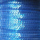 Sequin Stitched Trim 4mm ~ Turquoise Blue Transparent See-Thru ~ Made in USA