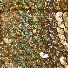 Sequin Trim Gold Ultra Hologram 8mm flat strung by the yard. Made in USA.