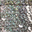 Sequin Trim Silver Ultra Hologram 8mm flat strung by the yard. Made in USA.
