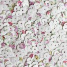 5mm Flat Round Loose SEQUINS ~ Spring Flowers Petite Fleur Floral Print on White
