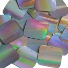 Silver Lazersheen Sequin Square Reflective 1.5 inch ( 40mm ) Couture Paillettes