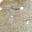 """Sequin Round 1.5"""" Mehndi Print Pattern Black Gold Metallic"""