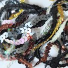 "6mm Sequin Trim Sampler Pack. 10 (12"") pieces. Colors: White Black Gold Silver"