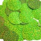 "Round Sequin 1.5"" Lime Green Fluorescent Hologram Glitter Sparkle Metallic"