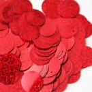 """Sequins Red Hologram Multi Metallic 24mm (1"""") Flat Round Top Hole Paillettes"""