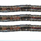 "Beaded Trim Bronze Sequins Brown Gold Glass Seed Bead 1/2"" wide 3 yards"