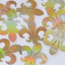 "Sequin Fleur De Lis 1.5"" Gold Lazersheen Reflective Metallic. Made in USA"