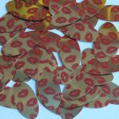 """Oval Sequin 1.5"""" Red Lips Kiss Lipstick Print Gold Metallic Couture Paillettes"""