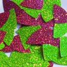 "Fishscale Fin Sequin 1.5"" Lime Hot Pink Fluorescent 2 sided Hologram Glitter"