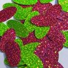 "Oval Sequin 1.5"" Lime Hot Pink Fluorescent 2 sided Hologram Glitter Sparkle"