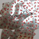 "Fishscale Fin Sequin 1.5"" Ladybug Ladybird Print on Silver Metallic Paillettes"