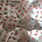 "Rectangle Sequin 1.5"" Ladybug Ladybird Print on Silver Metallic Paillettes"