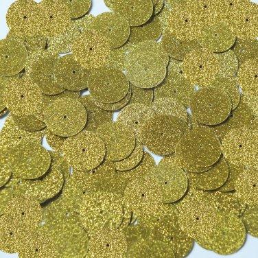 Round Sequin 15mm Yellow Metallic Sparkle Glitter Texture Couture Paillettes