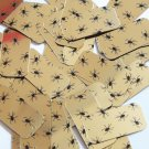 """Rectangle Sequin 1.5"""" Black Spiders Print on Gold Metallic Couture Paillettes"""