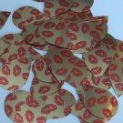 "Teardrop Sequin 1.5"" Red Lips Kiss Lipstick Print Gold Metallic Paillettes"