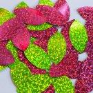 """Navette Leaf Sequin 1.5"""" Lime Hot Pink Fluorescent 2 sided Hologram Glitter"""