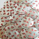 Round Sequin 30mm Ladybug Ladybird Print on Silver Metallic Couture Paillettes