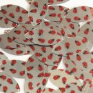 "Navette Leaf Sequin 1.5"" Ladybug Ladybird Print on Silver Metallic Paillettes"