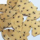 "Navette Leaf Sequin 1.5"" Black Spiders Print on Gold Metallic Couture Paillettes"