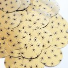 """Round Sequin 1.5"""" Black Spiders Print on Gold Metallic Couture Paillettes"""