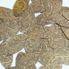 "Sequin Oval 1.5"" Mehndi Print Pattern Black Gold Metallic"