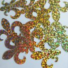 "Sequin Fleur De Lis 1.5"" Gold Hologram Glitter Sparkle Metallic. Made in USA"