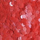 8mm Flat Round Sequins Coral Orange Luster Shiny Opaque.