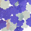 """Sequin Flower 1"""" Purple Silver Metallic Couture Paillettes. Made in USA."""