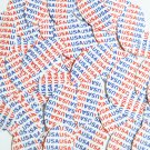 """Sequin Navette Leaf 1.5"""" USA Red Blue Patriotic White Print Opaque"""